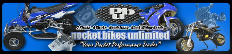 pocket bike performance parts, pocket bike parts, pocket bikes unlimited, pbu, 47cc pocket bike parts, 49cc pocket bike parts, 4 stroke pocket bike parts, water cooled pocket bikes, banshee pocket bike parts, c1 pocket bike parts, z1, 911, polini, blata, grc, polini pocket bikes, pocket bike performance